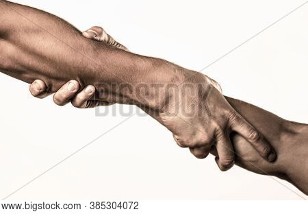 Two Hands, Helping Arm Of A Friend, Teamwork. Helping Hand Concept And International Day Of Peace, S