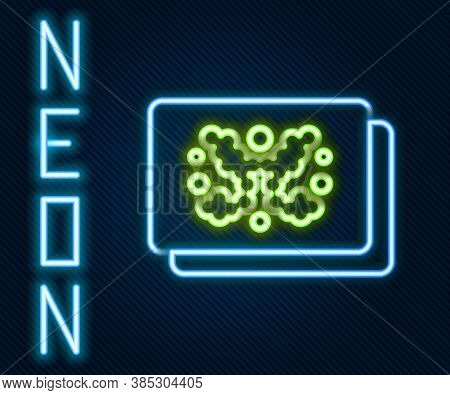 Glowing Neon Line Rorschach Test Icon Isolated On Black Background. Psycho Diagnostic Inkblot Test R