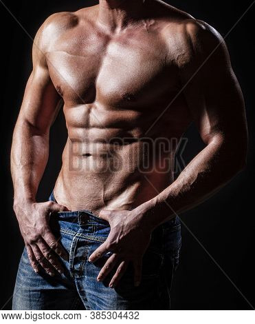 Sensual Man With Naked Strong Ab. Muscular Torso Close Up. Torso Concept. Fashion Portrait Of Strong