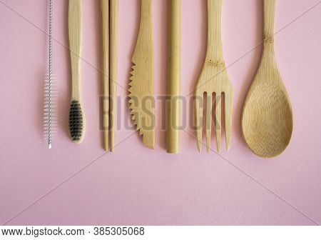 Eco Friendly Bamboo Cutlery Set In A Case On A Pink Background. Zero Waste Concept. Set Of Bamboo Cu