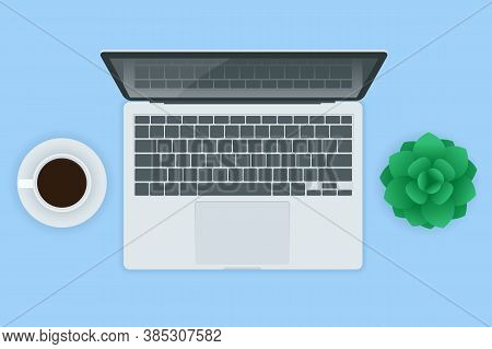Laptop Computer Realistic Illustration Isolated On White Background Top View. Realistic Vector Mocku