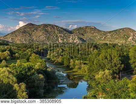 Evening View From The Fortress Crnojevica. With Reflection. Skadar (shkoder) Like, Zabljak Crnojevic