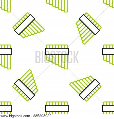 Line Pan Flute Icon Isolated Seamless Pattern On White Background. Traditional Peruvian Musical Inst