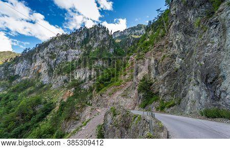 Tara River Valley Landscape. Tara Valley, Montenegro, Europe.