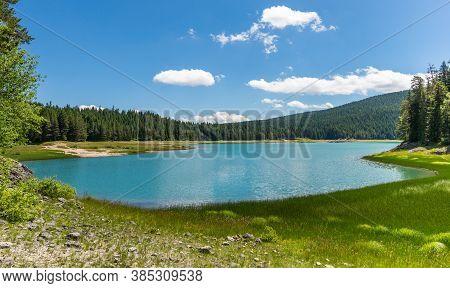 A Beautiful Black Lake Panorama. Durmitor, Montenegro, Europe.