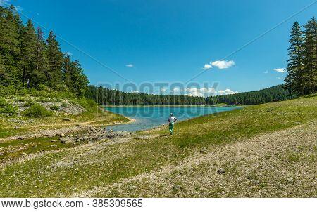 The Creek Flows Into The Black Lake. Durmitor, Montenegro, Europe.