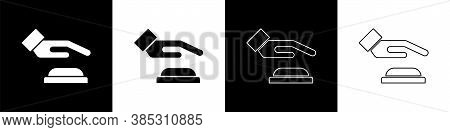 Set Palm Print Recognition Icon Isolated On Black And White Background. Biometric Hand Scan. Fingerp