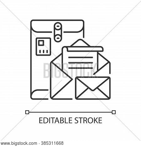 Postbox Linear Icon. Personal Mailbox, Postal Service Thin Line Customizable Illustration. Old Fashi