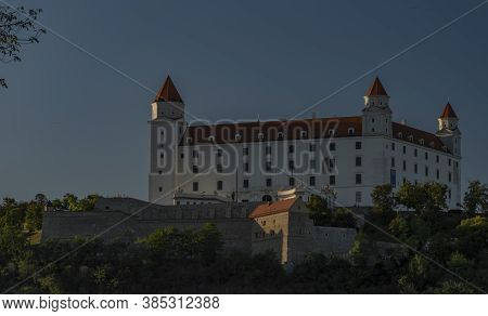 Bratislava Castle In Summer Hot Evening With Blue Sky In Slovakia