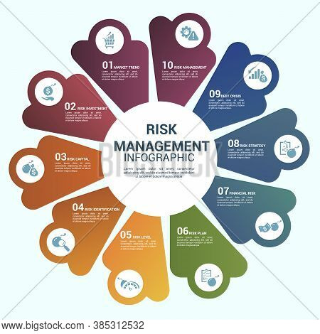 Infographic Risk Management Template. Icons In Different Colors. Include Market Trend, Investment, R