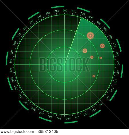 Digital Blue Realistic Radar Screen. Hud Vector Illustration.