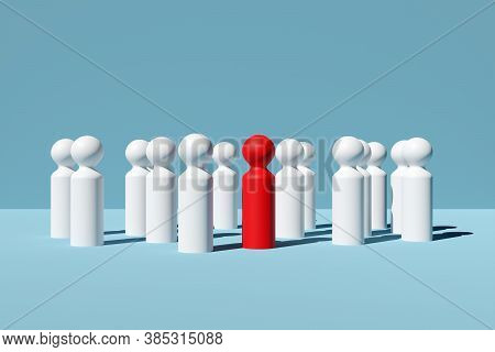 Single Red Figure In The Middle Of Group Or Team Of White Figures Over Blue Background, Team, Leader