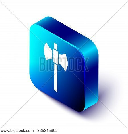 Isometric Wooden Axe Icon Isolated On White Background. Lumberjack Axe. Happy Halloween Party. Blue