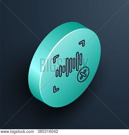Isometric Line Rejection Voice Recognition Icon Isolated On Black Background. Voice Biometric Access