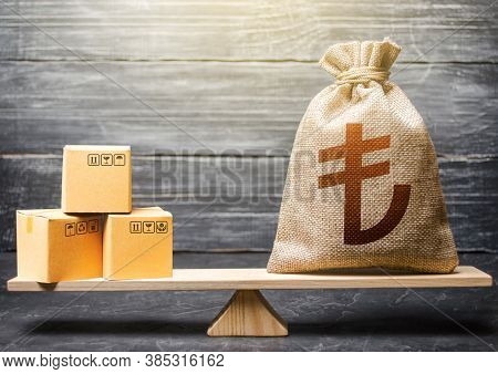 Turkish Lira Money Bag And Boxes. Trade Balance, Buying And Selling Goods. Import And Export, Withho