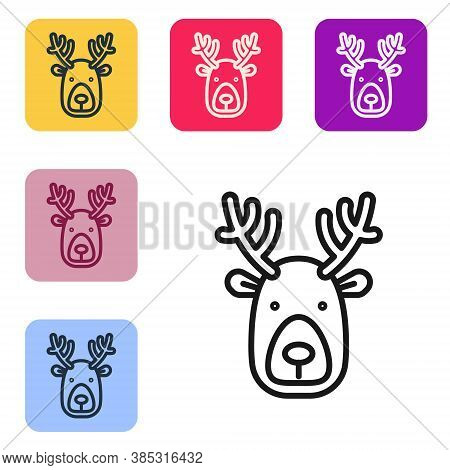 Black Line Deer Head With Antlers Icon Isolated On White Background. Set Icons In Color Square Butto