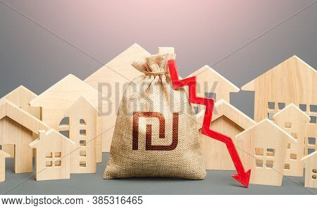 City Residential Buildings And Israeli Shekel Money Bag With A Red Down Arrow. Lower Mortgage Intere