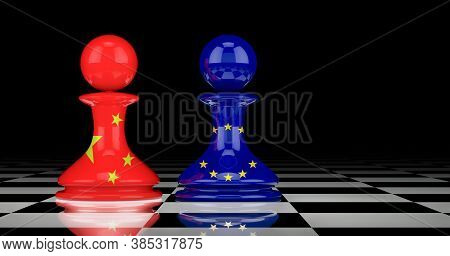 China And The European Union Confrontation And Relations Concept. 3d Rendering