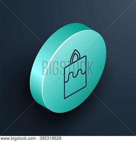 Isometric Line Burning Candle Icon Isolated On Black Background. Cylindrical Aromatic Candle Stick W