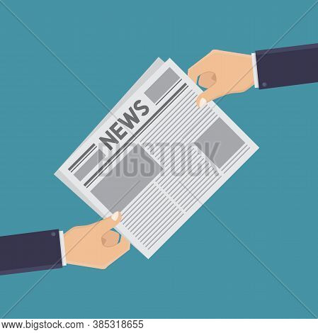Hand And Newspapers, Reading Newspapers, Receiving Newspapers, Holding Newspapers, Flat Design Style