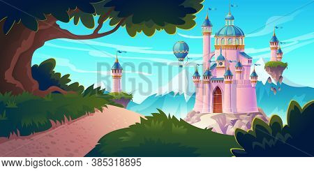 Pink Magic Castle, Princess Or Fairy Palace At Mountains With Rocky Road Lead To Gates With Flying T