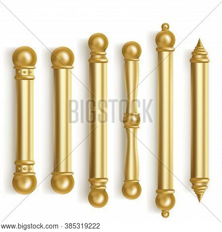 Baroque Gold Door Handles For Room Interior In Office Or Home. Vector Realistic Set Of Vintage Golde