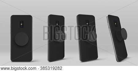Smartphone With Pop Socket Holder On Back In Different Angles View. Vector Realistic Mockup Of Black
