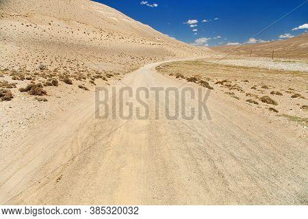 Pamir Highway Or Pamirskij Trakt Unpaved Road In Tajikistan, Gorno-badakhshan Region, Wakhan Valley.