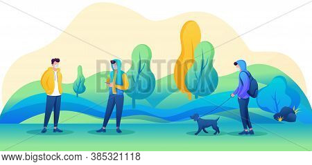 Young People Walk In The Park With Masks On Their Faces And Observe A Social Distance. Vector Illust
