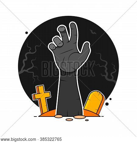 Zombie Hand From Hell. Undead Hand - Vector