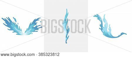 Water Splash. Blue Water Waves Set, Wavy Liquid Symbols Of Nature In Motion. Isolated Vector Design