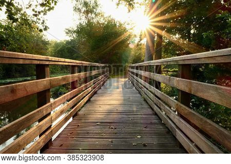 Wooden Bridge In The Middle Of The Forest. Rays Of The Sun Through The Foliage Of Trees. Bridge In N