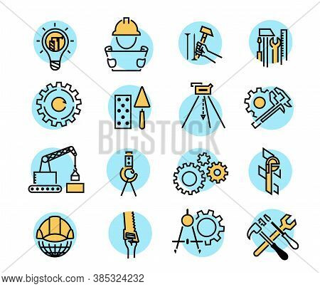 Color Building Icons In Simple Style. Industry And Building, Construction Icons Design. Symbol For A
