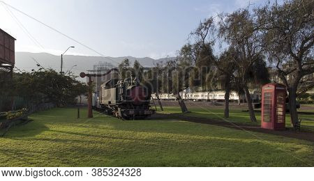 Antofagasta, Chile - August 13, 2019: The Train Station Of Antofagasta With Old Train