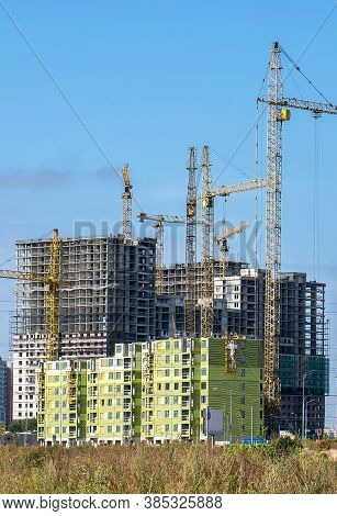 Multistory Buildings Under Construction Made Of Reinforced Concrete Structures And Frameworks With T