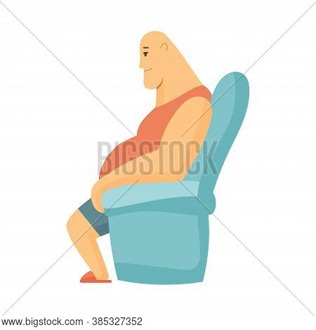 Home Leisure. Man Sit On Sofa And Watch Tv. People Leisure Time. Staying At Home. Enjoyed Leisure Ti