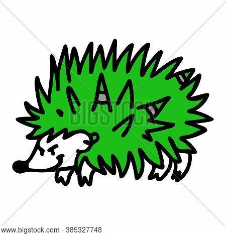 Punk Rock Hedgehog Vector Illustration Clipart. Simple Alternative Sticker. Kids Emo Rocker Cute Han