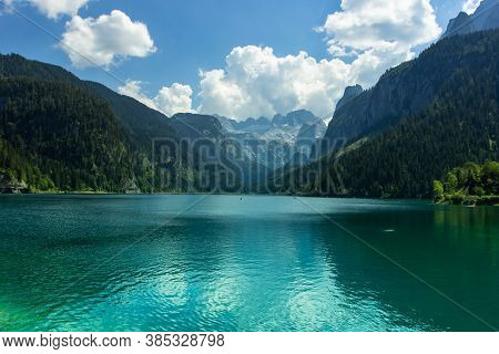 View Of Majestic Mountains And Lake In Europe.nature Getaway.turquoise Water Of Gosau See,austria,da
