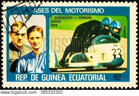 Moscow, Russia - September 14, 2020: Stamp Printed In Equatorial Guinea Shows Swiss Sidecar Racers F