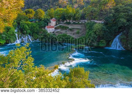 View From Above The Waterfalls. Krka National Park, Croatia.