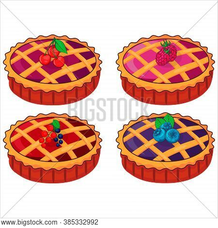 Pie Illustration Vector Flat Cartoon Isolated On White Background. Vector Tart. Set Of Vector Cakes.