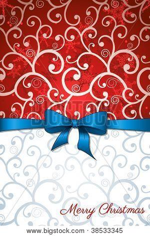 Cartão de Natal com arco azul