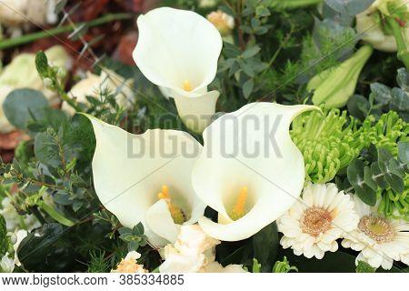 Big White Arum Lilies In A Bridal Flower Arrangement