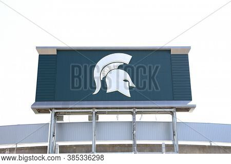 EAST LANSING, MI -22 AUGUST 2020- Symbol of  Spartan in front of the entrance to the Spartan stadium at Michigan State University (MSU) in East Lansing.
