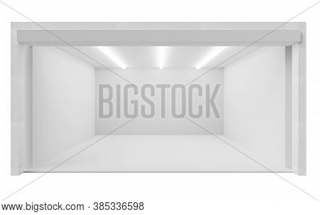 Storefront Of Empty Commercial Space Of Shop, Market 3d Rendering Illustration. Shop With White Wall