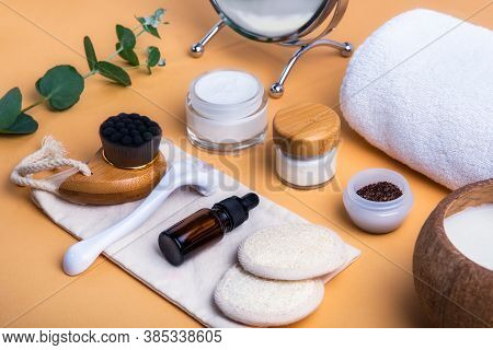 Home Self-care Kit For Face. Dry Lymphatic Drainage Massage Brush, Mezoroller, Loofah Pads, Natural