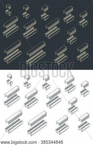 Microcircuits Isometric Drawings Set