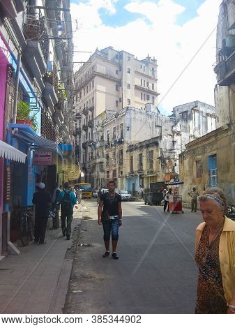 Havana, Cuba - April 03, 2013: Streets Of Havana, Hiking Walks In Havana.