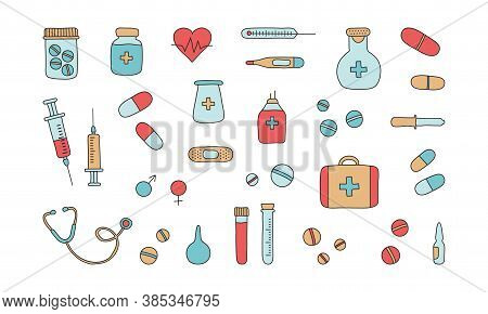 Medicine tool vector icons. First aid kit, syringe and stethoscope, vial of medicine, pills, thermometers, medical plaster, pipette. Mobile medicine, medical research. Hand drawn illustration