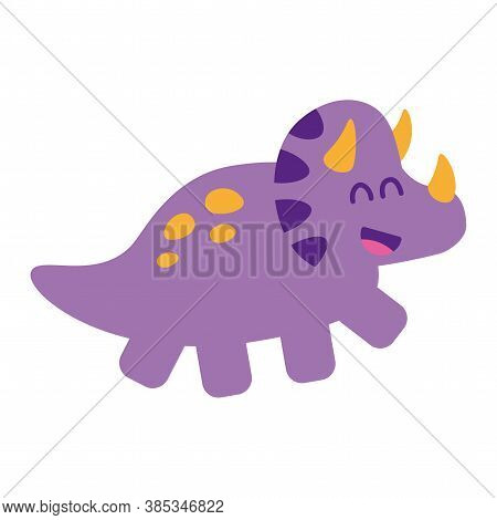 Isolated Baby Dino Triceratops Jurassic Wild Icon- Vector